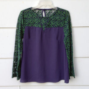 NWOT Entro Navy Blue / Green Lace Sleeve Top - S